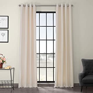 Half Price Drapes PDCH-KBS2-96-GRBO Grommet Blackout Vintage Textured Faux Dupioni Silk Curtain, Off White