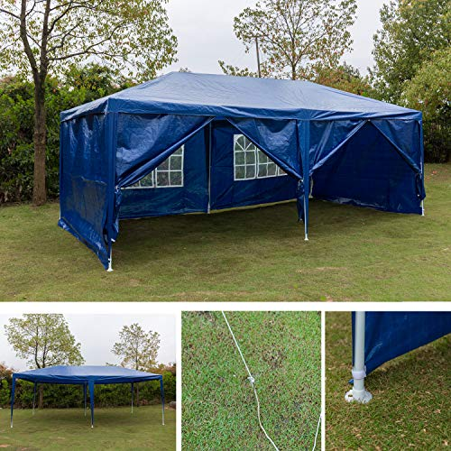 AutoBaBa 3x6m Waterproof Garden Gazebo Marquee Canopy Tent Steel Tube Strong Marquee, PE, 6 Sides Panels, Blue