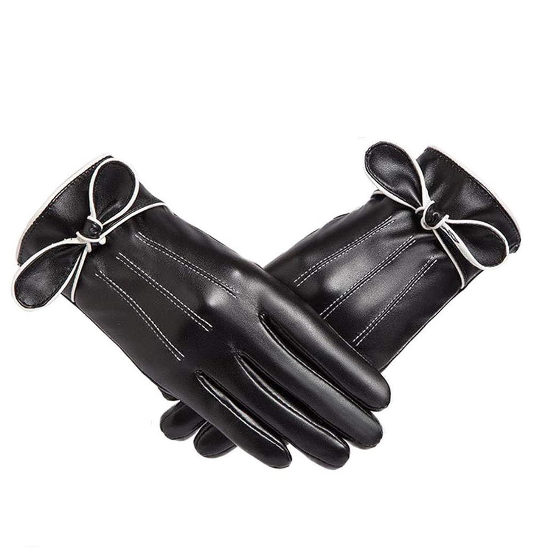 ステレオタイプ石のやさしく暖かさと防風性の手袋性格の弓は、タッチスクリーンの手袋を厚くした秋と冬の暖かい手袋