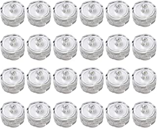 Submersible Waterproof Wedding Underwater Tea Light Sub LED Light for Decoration Wedding Party Bar etc.White (Pack of 24)