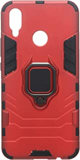 Iorn Man Back Cover With Magnetic Car Holder Ring For Huawei Nova 3I, Red Black