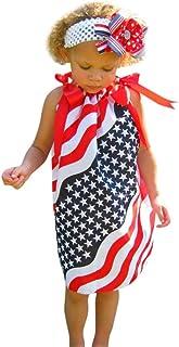 dd364311332 Fiaya 4th of July Infant Kids Girls Star Sleeveless Chiffon Bowknot  Sundress Casual Dresses for Little