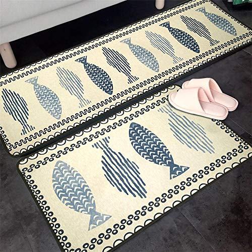 WGOO Carpet Bagno Cucina Tappeti zerbini Tappeto per Soggiorno Non-Slip stuoie,2PCS Bellissimo Tappeto Ondulato da Cucina con Stampa del Pesce 7MM,40X60+40X120CM