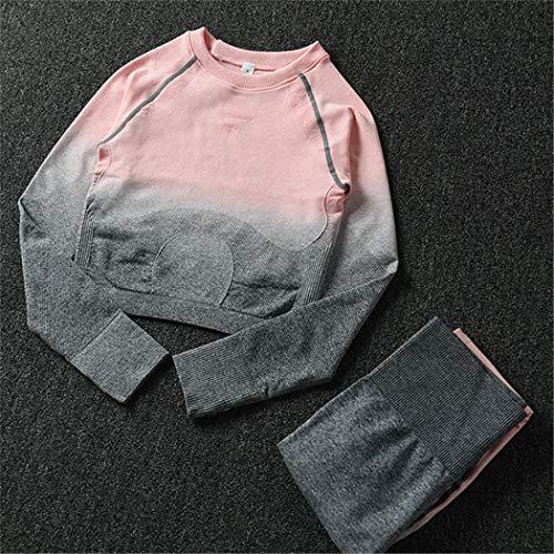 REWORDGT 2 Pezzi Donne Yoga Set Manica Lunga Crop Top e Vita Alta Controllo Pancia Leggings Sportivi Palestra Senza Soluzione di continuità Tuta Sportiva Dark Gray-Pink Set M