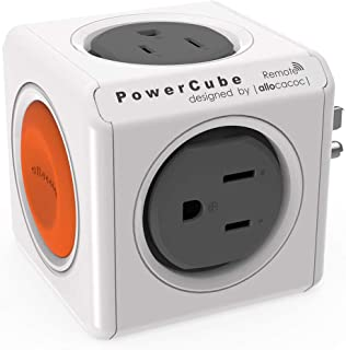 Allocacoc PowerCube Original |Remote| SET, 4 Outlets, 1 Remote, Wirelessly controlled sockets, wall Plug, Cell Phone Charg...