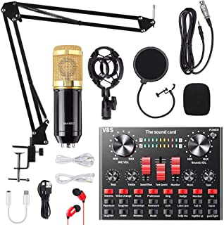 Condenser Microphone Bundle, ALPOWL BM-800 Mic Kit with Live Sound Card, Adjustable Mic Suspension Scissor Arm, Metal Shock Mount and Double-Layer Pop Filter for Studio Recording & Broadcasting (Gold)