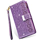 Galaxy S21 5G Case Wallet with Card Holder,Kudex Bling Sparkle Glitter Folio PU Leather Flip Magnetic Kickstand Zipper Purse Case with 9 Card Slot & Wrist Strap for Samsung Galaxy S21 6.2''(Purple)