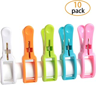 HAPY SHOP Beach Towel Clips 10 Pack Cruise Chair Holder Plastic Quilt Hanging Clamps,Bright Color Jumbo Size for Beach Chair, Loungers, Blankets,Clothes,Quilt Hanging