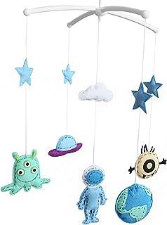 Décoration de lit de bébé Cadeau nouveau-né Mobile musical fait à la main Espace