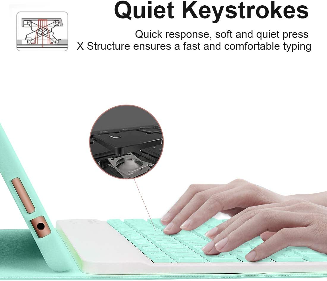 Protective Case with Detachable Wireless Keyboard Lively Life Bluetooth Keyboard for iPad 10.2 8th 2020//7th Generation 2019 iPad Pro 10.5 2017 Built-in Pen Holder -Green iPad Air 3 2019
