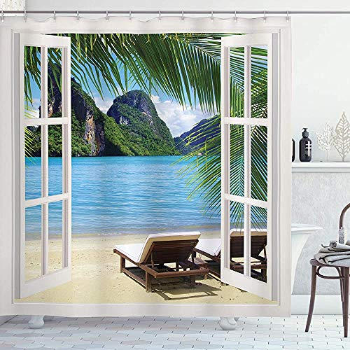 ASDAH Beach douchegordijn palmbomen in Ocean Heaven ligbedden balkon wit houten ramen zomer tropische doek stof badkamer Decor Set met haken blauw groen 66 * 72in