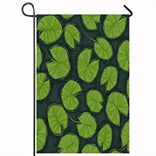 Ahawoso Outdoor Garden Flag 28x40 Inches Green Plant Leaf River Pond Lily Pads Texture On Water Nature Pattern Lake Dark Lilies Depth Drawing Seasonal Home Decor Welcome House Yard Banner Sign Flags