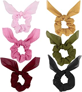 Ondder 6 Pieces Bow Scrunchies for Hair Chiffon Silk Scrunchies, Hair Accessories for Women Ladies Young Women, 6 Assorted Colors Scrunchies (6 Pack Bow Scrunchies)