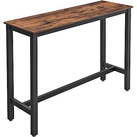VASAGLE Table de Bar, Table Haute Fine, Table de Cuisine, 120 x 40 x 100 cm, Table de Salle à Manger, avec Cadre métallique Robuste, Montage Facile, Marron Rustique et Noir LBT12X