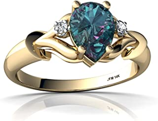 14kt Gold Lab Alexandrite and Diamond 7x5mm Pear Gothic Pear Ring