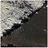 LQING Mermaid Black Silver Shimmer Sequin Fabric Reversible Sequin Fabric Flip Up Sequin Fabric by The Half Yard
