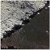 Mermaid Black Silver Shimmer Sequin Fabric Reversible Sequin Fabric Flip Up Sequin Fabric by The Half Yard