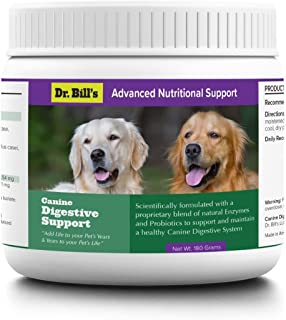 Dr. Bill's Canine Digestive Support   Probiotics for Dogs, with Natural Digestive Enzymes and Prebiotics   Includes Ginger Root, Lemon Balm, Psyllium Seed, Lactobacillus, Bifidobacterium   180 Grams