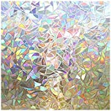 rabbitgoo Window Privacy Film, Rainbow Window Clings, 3D Decorative Window Vinyl, Stained Glass Window Decals, Static Cling Window Sticker Non-Adhesive, 23.6 x 78.7 inches