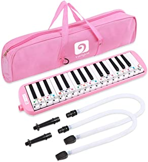 Vangoa Melodica 32 Key Pianica Pink Portable Melodicas with Cleaning Cloth, Double Mouthpieces Tubes and Carrying Bag for Kids Beginners Adults Gift