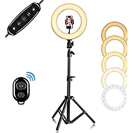 """Sky Buyer 12"""" (26cm) Selfie Ring Light with 55"""" Extendable Tripod Stand with Remote & Flexible Phone Holder for Live Stream/Makeup, Desktop Led Camera Ringlight for YouTube TIK-Tok Video"""