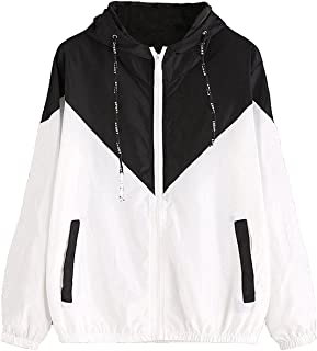 Women's Color Block Drawstring Hooded Zip Up Sports Jacket Windproof Windbreaker