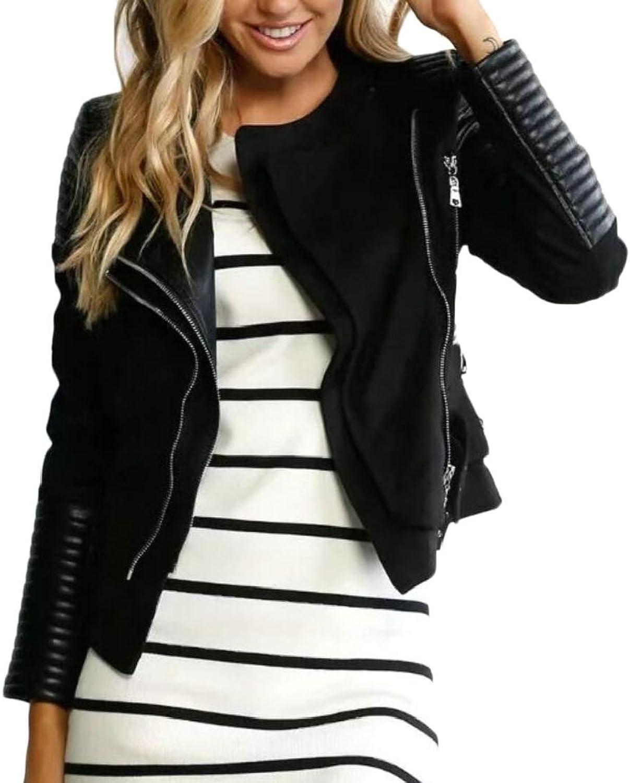Generic Womens Coat Casual Zipper FauxSuede Trucker Lapel Moto Jackets