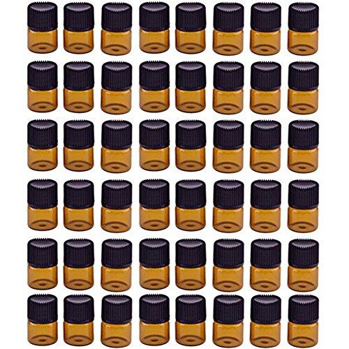 Hacoly 48 Pcs 1 ML Ambre Brown Verre Bouteilles D'huile Essentielle avec Orifice Réducteur et Screwcap Vide Liquide Petit Échantillon Collection Flacons Bouteilles Bocaux pour Aromathérapie