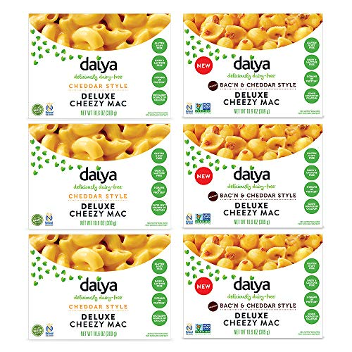 Daiya Cheezy Mac, Variety Pack :: Cheddar & Bac'n Cheddar:: Rich & Creamy Plant-Based Mac & Cheese :: Deliciously Dairy Free, Vegan, Gluten Free, Soy Free :: With Gluten Free Noodles (6 Pack)