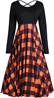 BOOB-88 Womens Dresses, Women Loose Vintage Casual Long Sleeve Patchwork Dress Plaid Party Dress