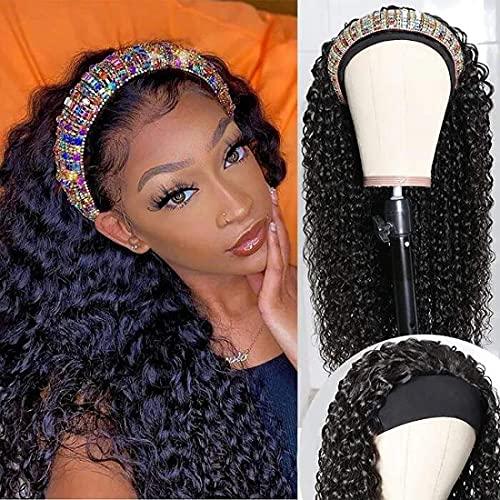 UNice Curly Headband Wig Human Hair for black Women Brazilian Virgin Hair Glueless Non Lace Front Headband Wigs 150% Density (18inch)