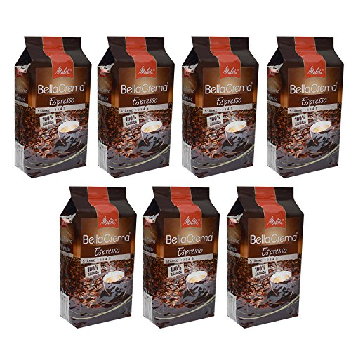 Melitta BellaCrema Espresso, 100 % Arabica, Ganze Kaffeebohnen, 1000g, 7er Pack (7 x 1kg)