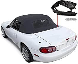 Compatible With Mazda Miata Convertible Top With Heated Glass Window & attached Rain Rail (Black)