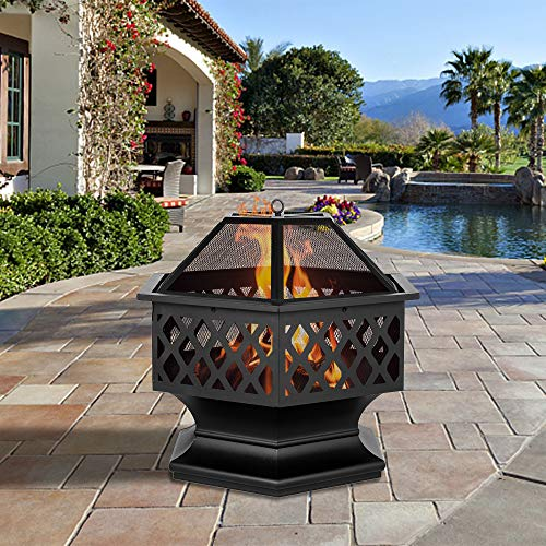 Outdoor Fire Pit,27.5' Firepit Table BBQ Grill Backyard Patio Stove Wood Burning Fire Bowl Chiminea w/Mesh Spark Screen & Poker for Backyard,Camping,Picnic,Bonfire,Garden - Hexagonal Shaped,Black
