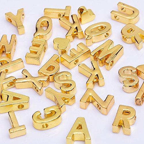 Rosebeading Legering Goud Letter Hanger Charm Letter Naam ketting armband diy personaliseren sieraden, verkocht 10 stks/partij