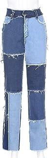 Sunnyushine Pantalones vaqueros de mujer de estilo casual con estampado de colores de cintura alta, pantalones vaqueros co...