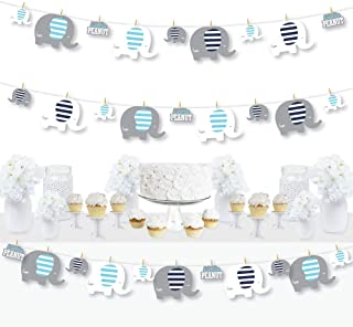 Big Dot of Happiness Blue Elephant - Boy Baby Shower or Birthday Party DIY Decorations - Clothespin Garland Banner - 44 Pieces