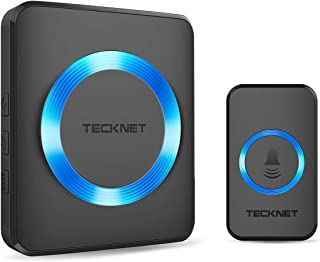 Wireless Doorbell, TeckNet Plug-in Cordless Door Chime Kit With 1000ft Range, 33 Chimes, 4 Level Volume, No Batteries Required for Receiver (Black)