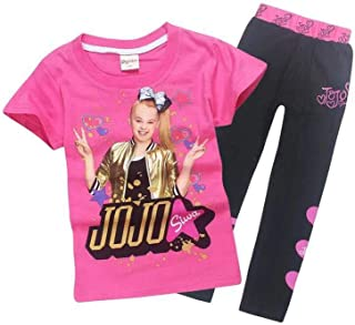 Girls JoJo Siwa Print Cartoon T Shirt+Trousers Children Casual Set 2pcs