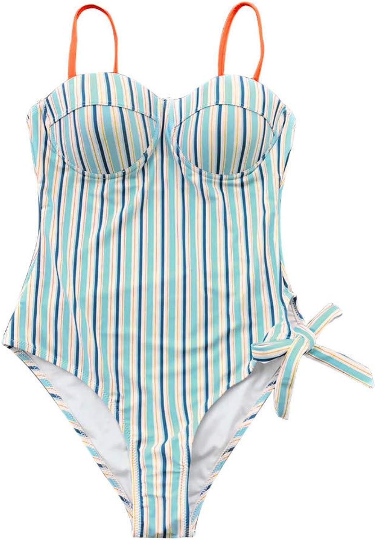 SHENGYUNPIO Blau and Orange Stripe Stripe Stripe Push Up One-Piece Swimsuit damen Tied Bow Adjustable Moulded Cup 2019 Girl Swimwear B07PLNQTPW  Räumungsverkauf 5db5a7