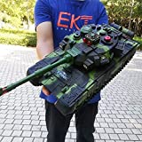 Ycco Large Size 44CM High Simulation Remote Control Tank Military Main Battle Tank Model Crawlers Chariot All Terrain Metal Track RC Tank Rechargeable Can Fire BB Bullets Vehicle Gift For Boys (yellow
