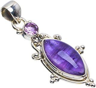 Natural Amethyst Handmade Unique 925 Sterling Silver Pendant 1.75