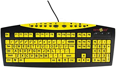 Keys-U-See Large Print USB Wired Computer Keyboard (Yellow Keys with Black Letters) Great..