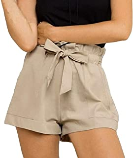 Womens Casual Summer Ruffle Classic Fit Beach Shorts with Belted