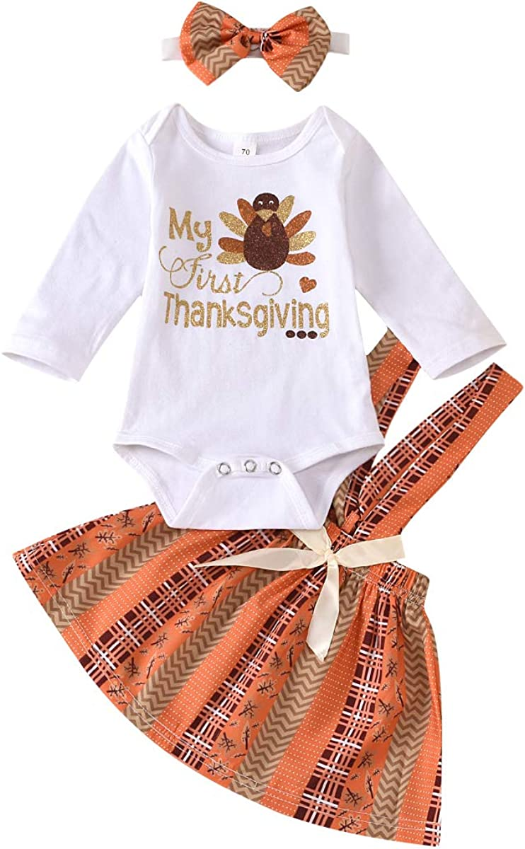 Argeousgor My First Thanksgiving Outfits Baby Girl Turkey Letters Romper Suspender Skirt with Headband 3PCS Clothes