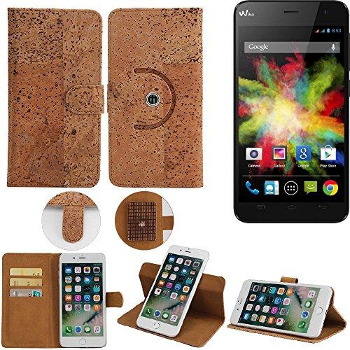 K-S-Trade® Schutz Hülle Für Wiko Bloom Handyhülle Kork Handy Tasche Korkhülle Schutzhülle Handytasche Wallet Case Walletcase Flip Cover Smartphone Handyhülle