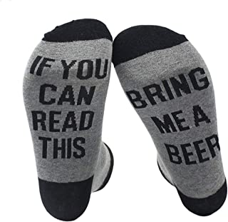 If you can read this bring me a beer calcetines negro/gris regalo para papá