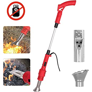 Electric Weed Burner, Garden Gear Weed Burner with Nozzle, Burning Grass and Charcoal 2 in 1 Thermal Weeding Stick - Up to 650℃ Strong Weed Killer Tool, Idea for Garden, Patio, Yard, Driveway