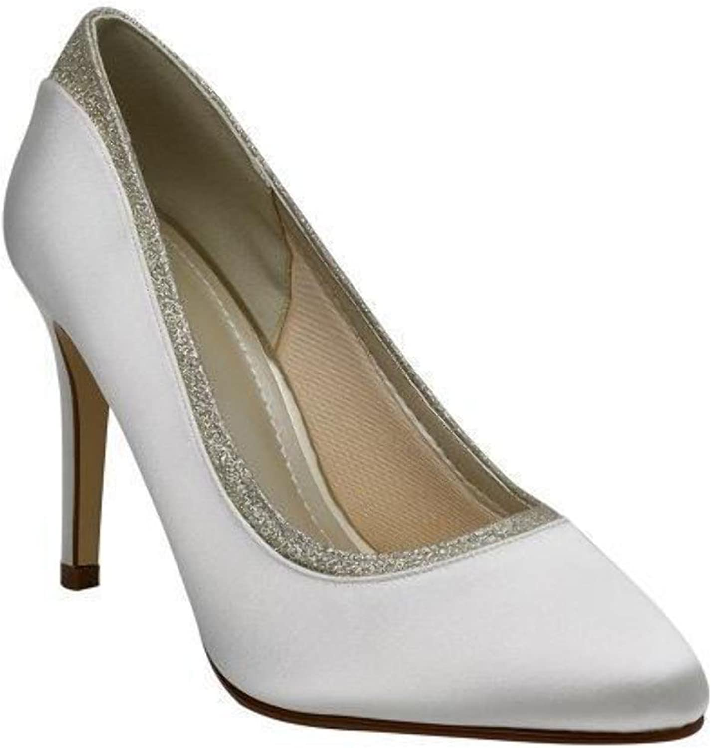 Rainbow Club Brautschuhe Billie Ivory Satin   Fine Glitter