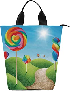 Fantasy Convenient Lunch Bag,Fantasy Candy Land With Delicious Lollipops and Sweets Sun Cheerful Fun Print Decorative for Family Holiday Picnic,12.4